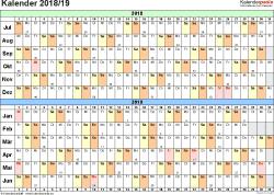 PDF-Vorlage für Halbjahr-Kalender 2018/2019 (Querformat, 1 Seite, Tage waagerecht (linear))