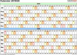 Excel-Vorlage für Halbjahr-Kalender 2019/2020 (Querformat, 1 Seite, Tage waagerecht (linear))