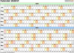 PDF-Vorlage für Halbjahr-Kalender 2020/2021 (Querformat, 1 Seite, Tage waagerecht (linear))
