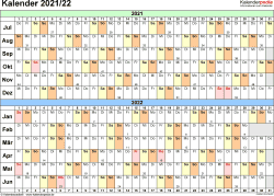 PDF-Vorlage für Halbjahr-Kalender 2021/2022 (Querformat, 1 Seite, Tage waagerecht (linear))