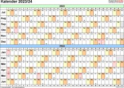 Excel-Vorlage für Halbjahr-Kalender 2023/2024 (Querformat, 1 Seite, Tage waagerecht (linear))