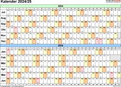 Excel-Vorlage für Halbjahr-Kalender 2024/2025 (Querformat, 1 Seite, Tage waagerecht (linear))