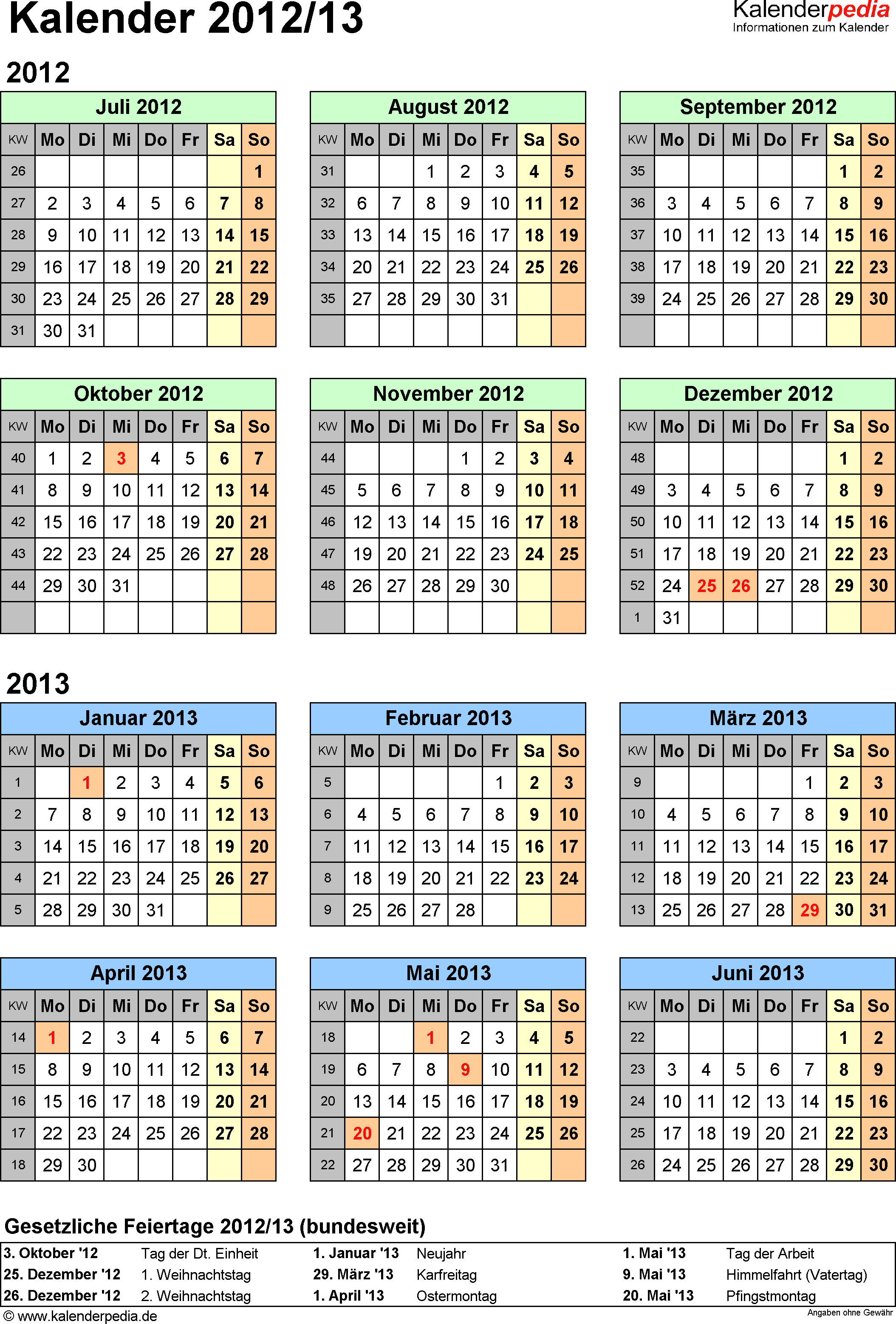 Excel-Vorlage für Halbjahr-Kalender 2012/2013 (Hochformat, 1 Seite, Jahresübersicht)