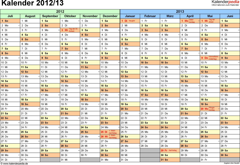 Excel-Vorlage für Halbjahr-Kalender 2012/2013 (Querformat, 1 Seite, Monate waagerecht)