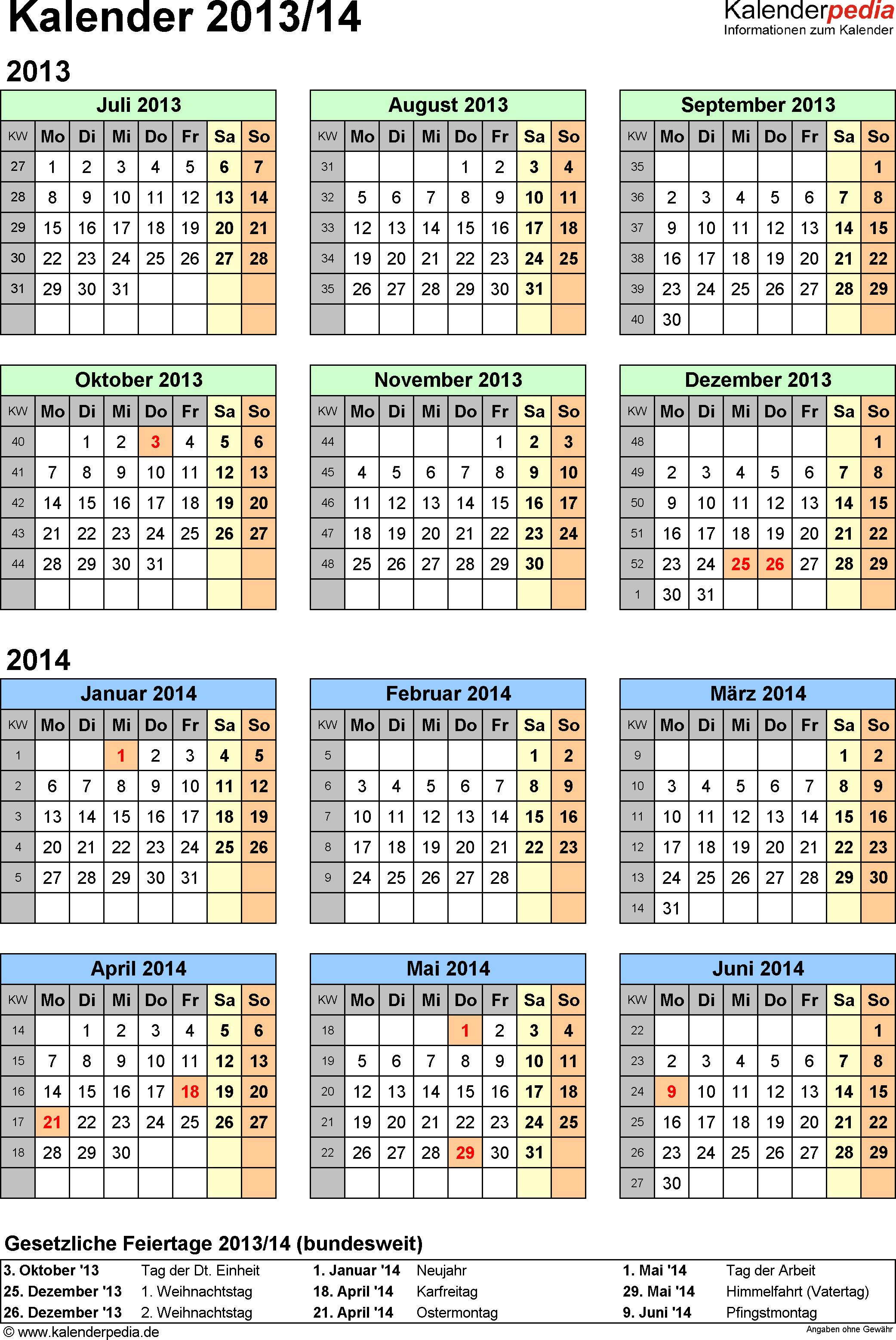 PDF-Vorlage für Halbjahr-Kalender 2013/2014 (Hochformat, 1 Seite, Jahresübersicht)