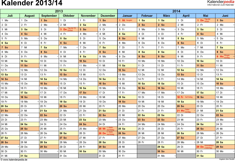 PDF-Vorlage für Halbjahr-Kalender 2013/2014 (Querformat, 1 Seite, Monate waagerecht)