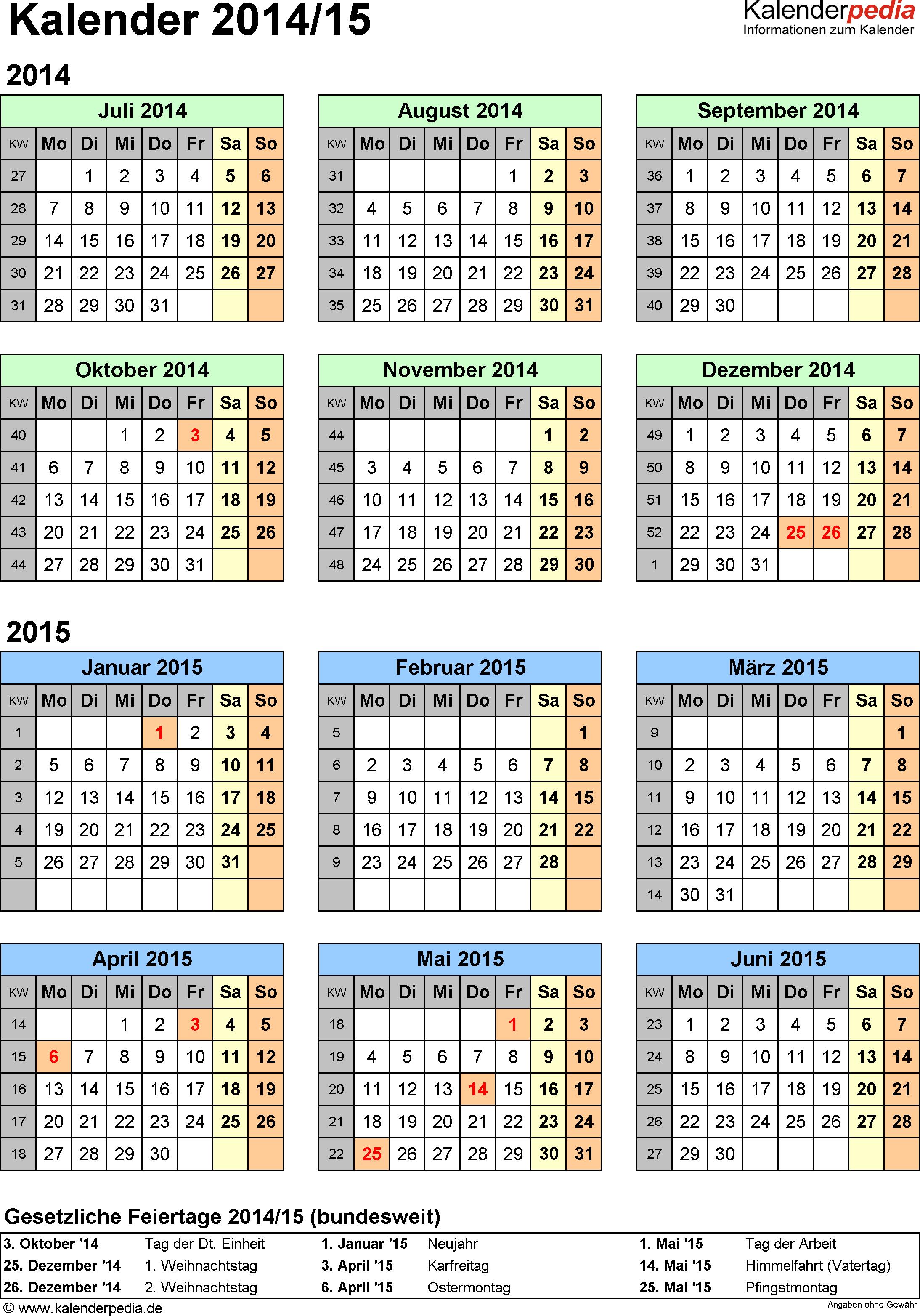 Excel-Vorlage für Halbjahr-Kalender 2014/2015 (Hochformat, 1 Seite, Jahresübersicht)