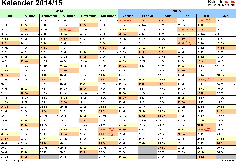 Excel-Vorlage für Halbjahr-Kalender 2014/2015 (Querformat, 1 Seite, Monate waagerecht)