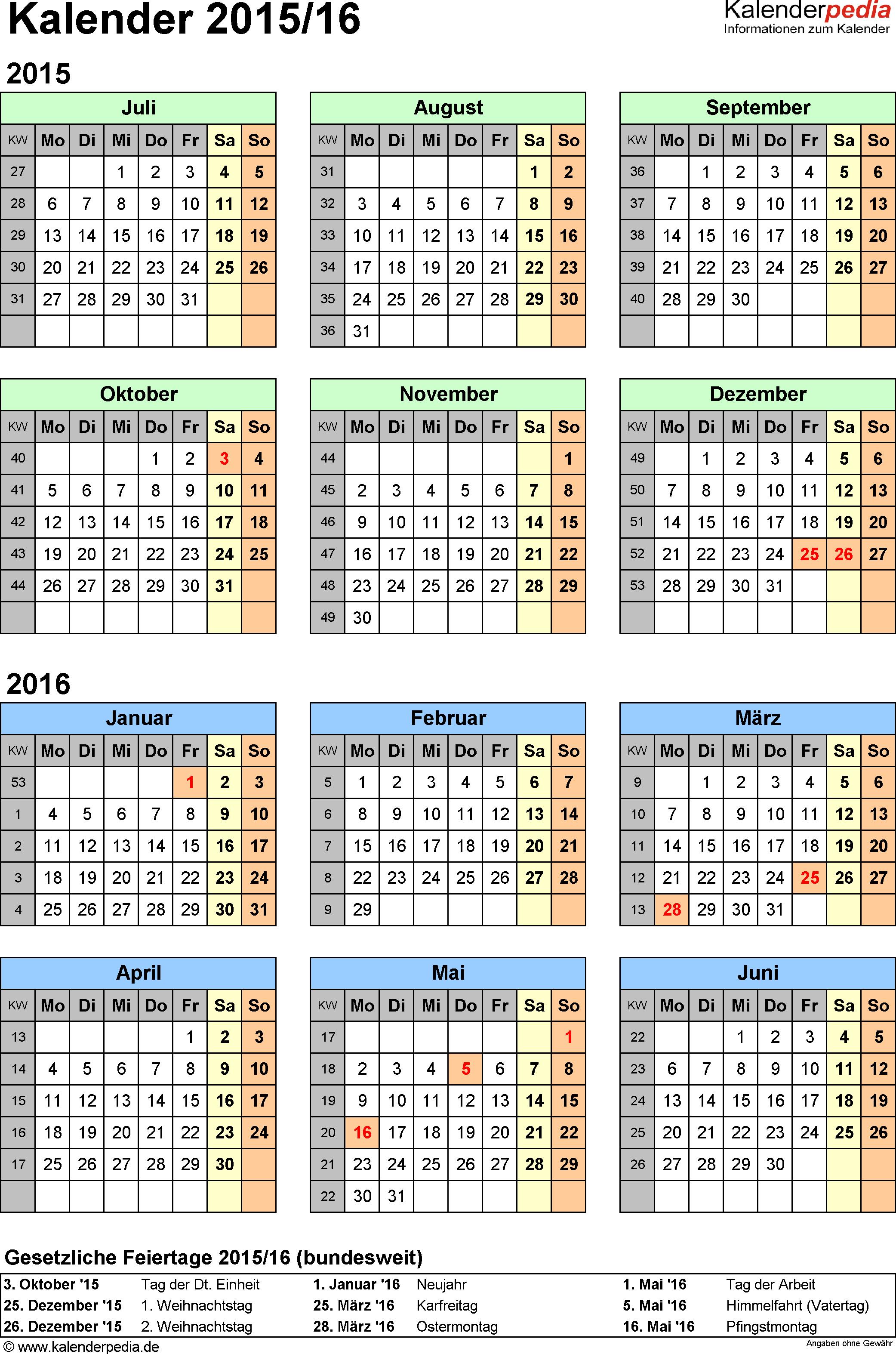 Excel-Vorlage für Halbjahr-Kalender 2015/2016 (Hochformat, 1 Seite, Jahresübersicht)