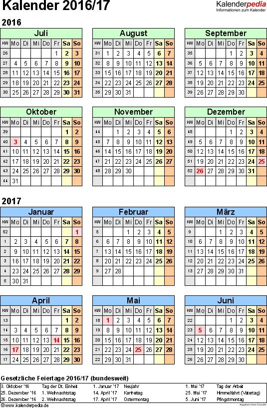 Excel-Vorlage für Halbjahr-Kalender 2016/2017 (Hochformat, 1 Seite)