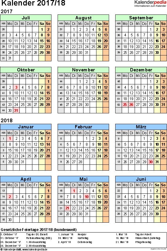 Excel-Vorlage für Halbjahr-Kalender 2017/2018 (Hochformat, 1 Seite, Jahresübersicht)