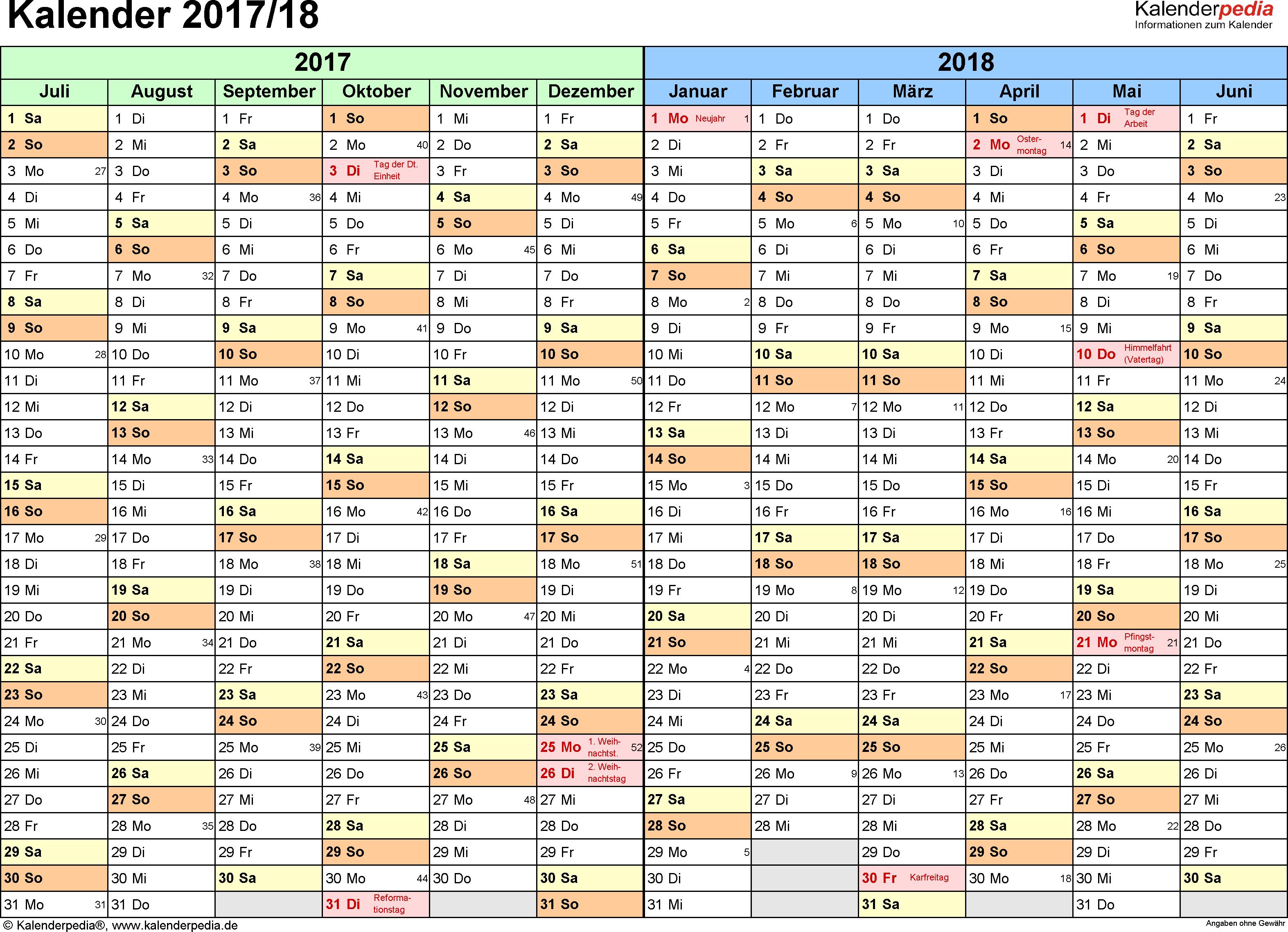 Excel-Vorlage für Halbjahr-Kalender 2017/2018 (Querformat, 1 Seite, Monate waagerecht)