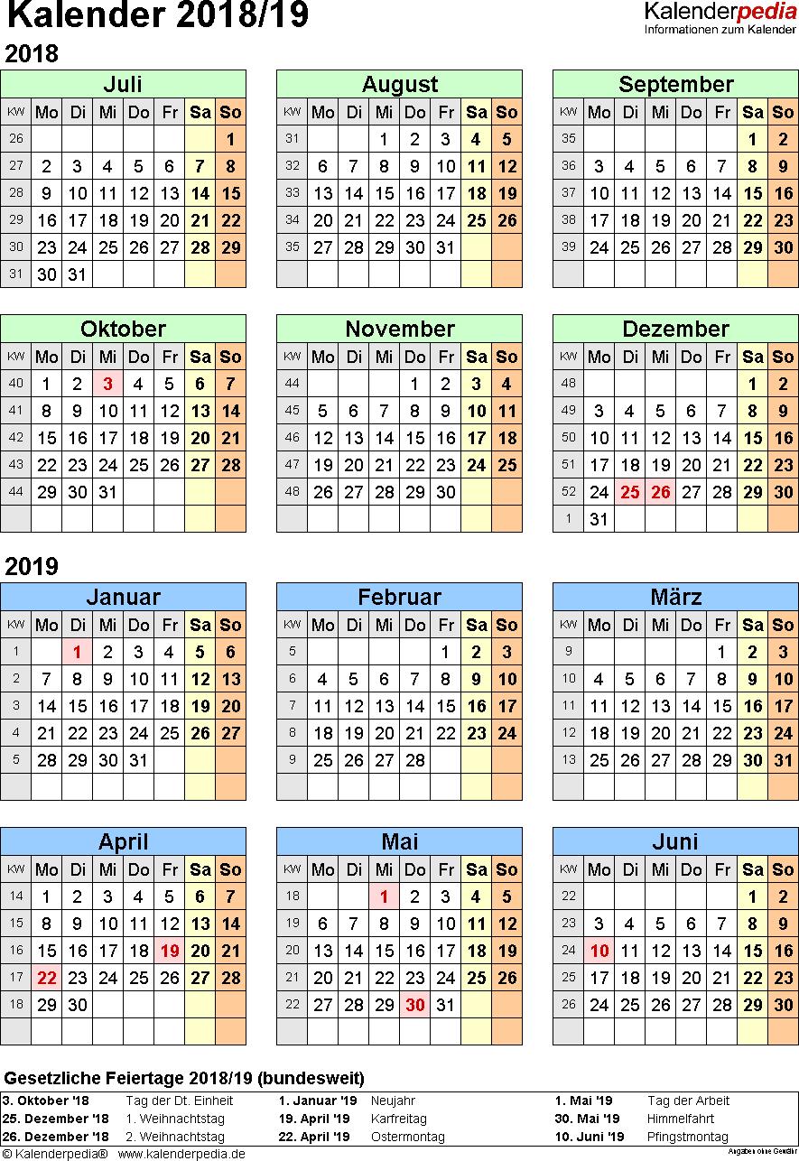 Excel-Vorlage für Halbjahr-Kalender 2018/2019 (Hochformat, 1 Seite)