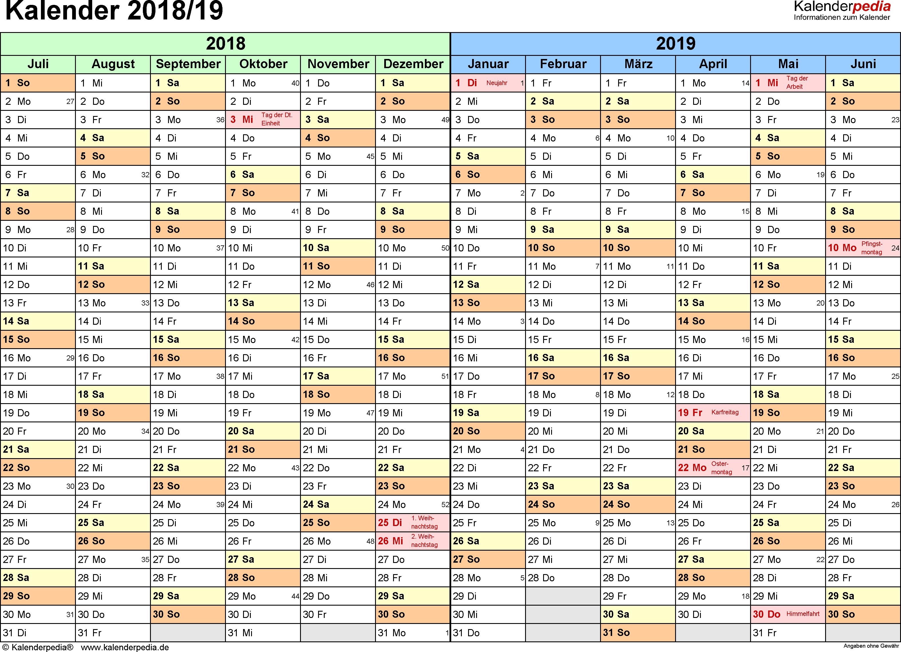 PDF-Vorlage für Halbjahr-Kalender 2018/2019 (Querformat, 1 Seite, Monate waagerecht)