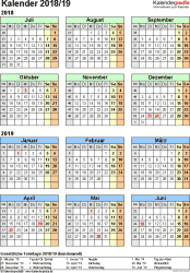 Excel-Vorlage für Halbjahr-Kalender 2019/2020 (Hochformat, 1 Seite, Jahresübersicht)