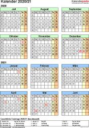 PDF-Vorlage für Halbjahr-Kalender 2020/2021 (Hochformat, 1 Seite, Jahresübersicht)