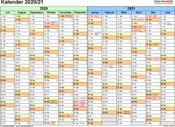 PDF-Vorlage für Halbjahr-Kalender 2020/2021 (Querformat, 1 Seite, Monate waagerecht)