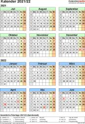 PDF-Vorlage für Halbjahr-Kalender 2021/2022 (Hochformat, 1 Seite, Jahresübersicht)