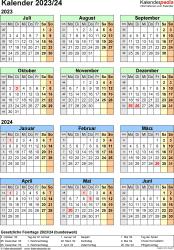 Excel-Vorlage für Halbjahr-Kalender 2023/2024 (Hochformat, 1 Seite, Jahresübersicht)