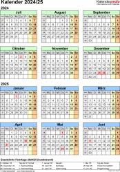 Excel-Vorlage für Halbjahr-Kalender 2024/2025 (Hochformat, 1 Seite, Jahresübersicht)