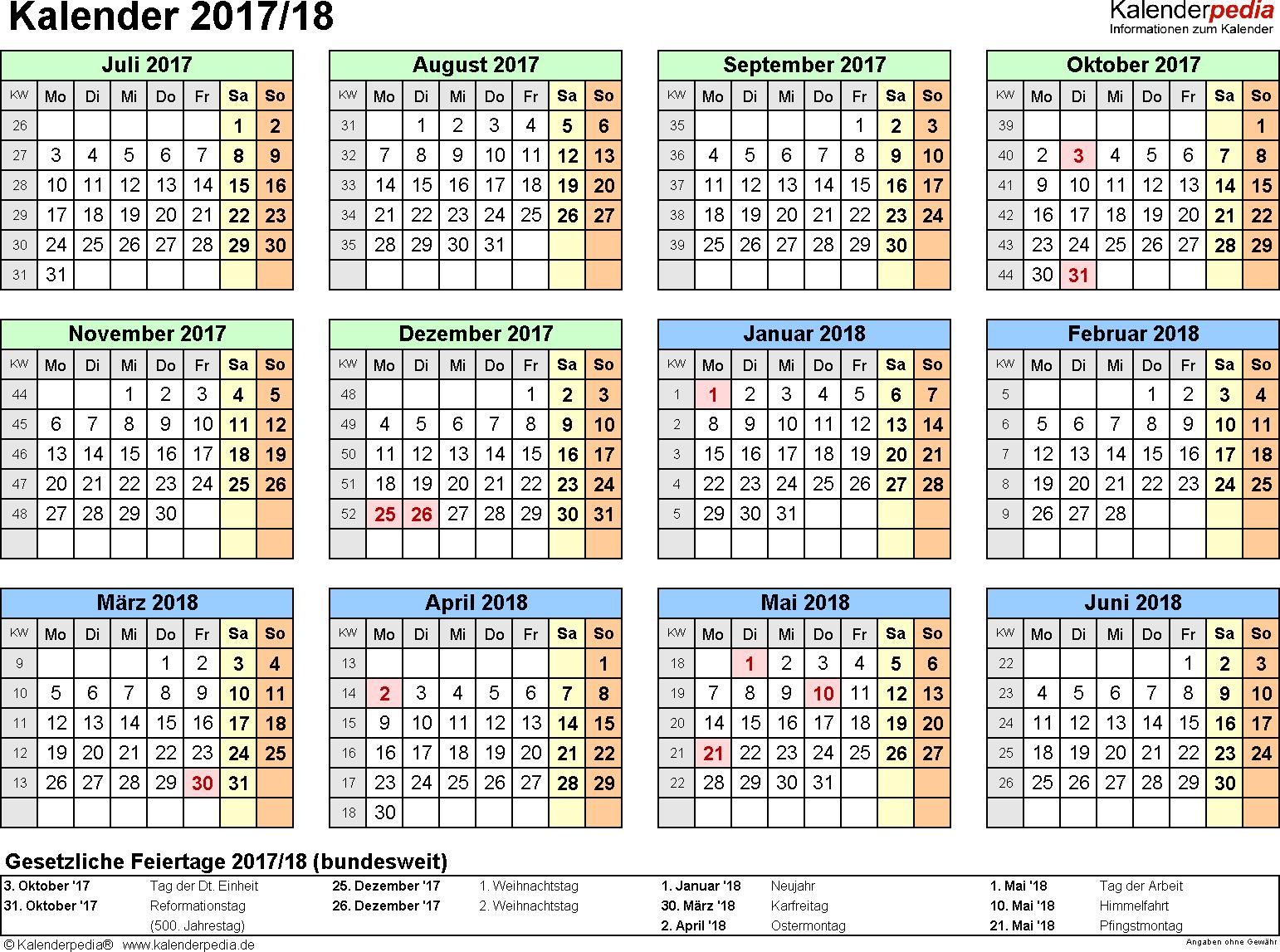 Excel-Vorlage für Halbjahr-Kalender 2017/2018 (Querformat, 1 Seite, Jahresübersicht)