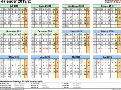 Excel-Vorlage für Halbjahr-Kalender 2019/2020 (Querformat, 1 Seite, Jahresübersicht)