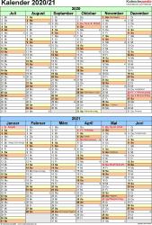 PDF-Vorlage für Halbjahr-Kalender 2020/2021 (Hochformat, 1 Seite, nach Jahreshälften untergliedert)
