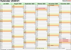 PDF-Vorlage für Halbjahr-Kalender 2020/2021 (Querformat, 2 Seiten)