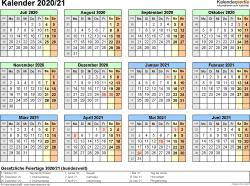PDF-Vorlage für Halbjahr-Kalender 2020/2021 (Querformat, 1 Seite, Jahresübersicht)