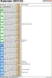 Vorlage 8: Halbjahreskalender 2021/2022 im Hochformat, 1 Seite, Tage fortlaufend (Wochengliederung)