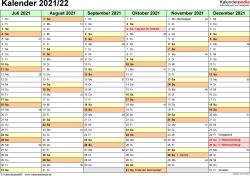 PDF-Vorlage für Halbjahr-Kalender 2021/2022 (Querformat, 2 Seiten)