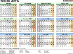 PDF-Vorlage für Halbjahr-Kalender 2021/2022 (Querformat, 1 Seite, Jahresübersicht)
