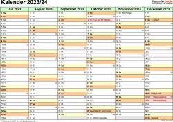 Excel-Vorlage für Halbjahr-Kalender 2023/2024 (Querformat, 2 Seiten)
