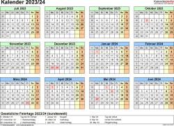 Excel-Vorlage für Halbjahr-Kalender 2023/2024 (Querformat, 1 Seite, Jahresübersicht)