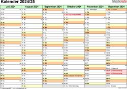 Excel-Vorlage für Halbjahr-Kalender 2024/2025 (Querformat, 2 Seiten)