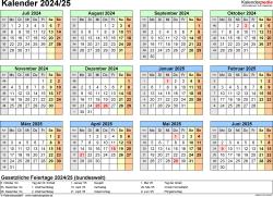 Excel-Vorlage für Halbjahr-Kalender 2024/2025 (Querformat, 1 Seite, Jahresübersicht)