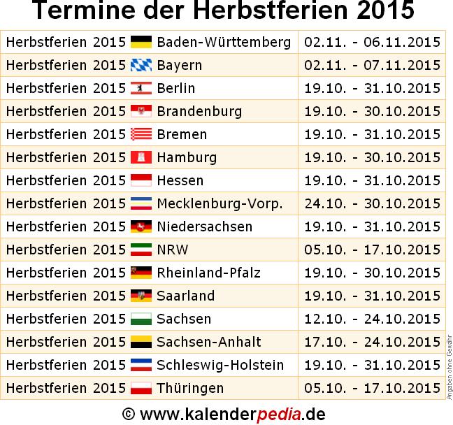 herbstferien 2015 und 2016 in deutschland alle bundesl nder. Black Bedroom Furniture Sets. Home Design Ideas
