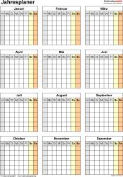 Jahresplan im PDF-Format Vorlage 32: Hochformat, 1 Seite, Jahr auf einen Blick