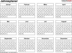 Jahresplan im Word-Format Vorlage 14: Querformat, 1 Seite, Jahr auf einen Blick