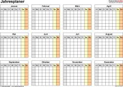 Jahresplan im PDF-Format Vorlage 15: Querformat, 1 Seite, Jahr auf einen Blick