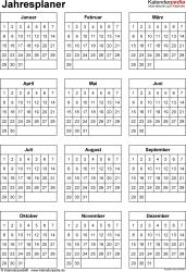 Jahresplan im PDF-Format Vorlage 31: Hochformat, 1 Seite, Jahr auf einen Blick