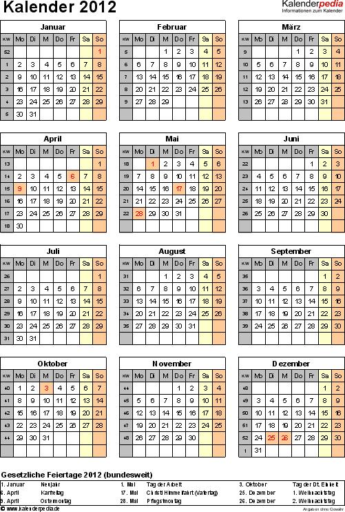 Vorlage 11: Jahreskalender 2012 als Excel-Vorlage, Hochformat, 1 DIN A4 Seite, mit Feiertagen (ganz Deutschland) und Kalenderwochen 2012, geeignet für alle Excel-Versionen