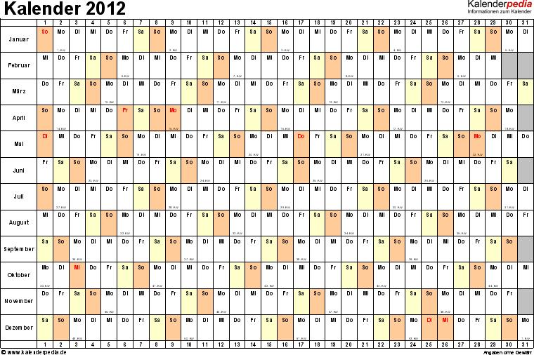Vorlage 6: Jahreskalender 2012 als Excel-Vorlage, Querformat, DIN A4, 1 Seite, Monate untereinander, Tage nebeneinander, mit Kalenderwochen 2012, geeignet für alle Excel-Versionen