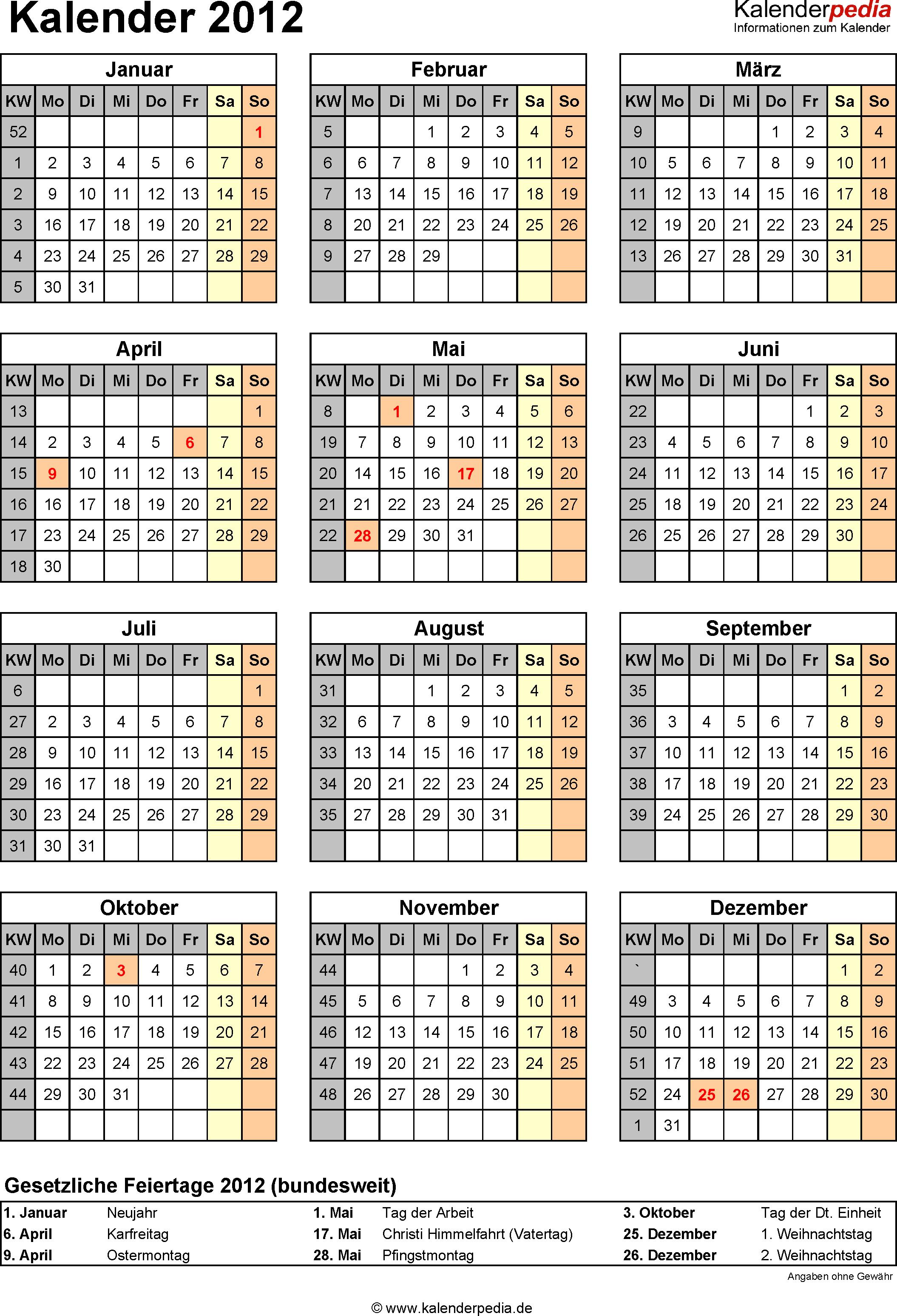 Kalender 2012 im Hochformat