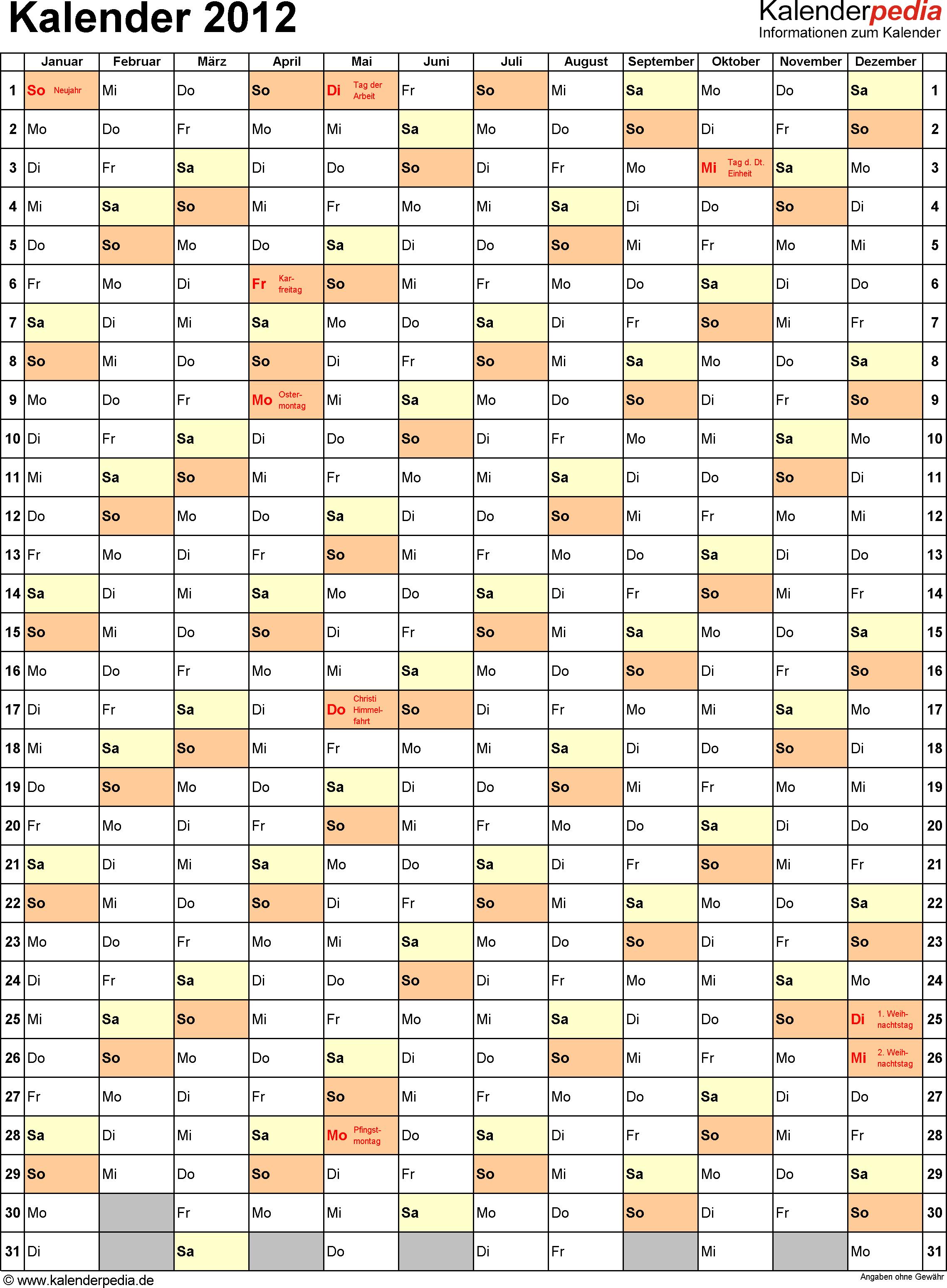 Vorlage 8: Jahreskalender 2012 als Excel-Vorlage, Hochformat, 1 DIN A4 Seite, mit Feiertagen (ganz Deutschland), geeignet für alle Excel-Versionen