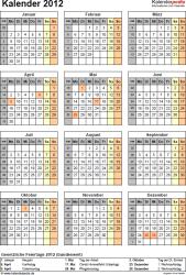 Vorlage 11: Jahreskalender 2012 als PDF-Vorlage, Hochformat, 1 DIN A4 Seite, mit Feiertagen (ganz Deutschland) und Kalenderwochen 2012