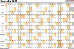 Vorlage 6: Jahreskalender 2012 als PDF-Vorlage, Querformat, DIN A4, 1 Seite, Monate untereinander, Tage nebeneinander, mit Kalenderwochen 2012