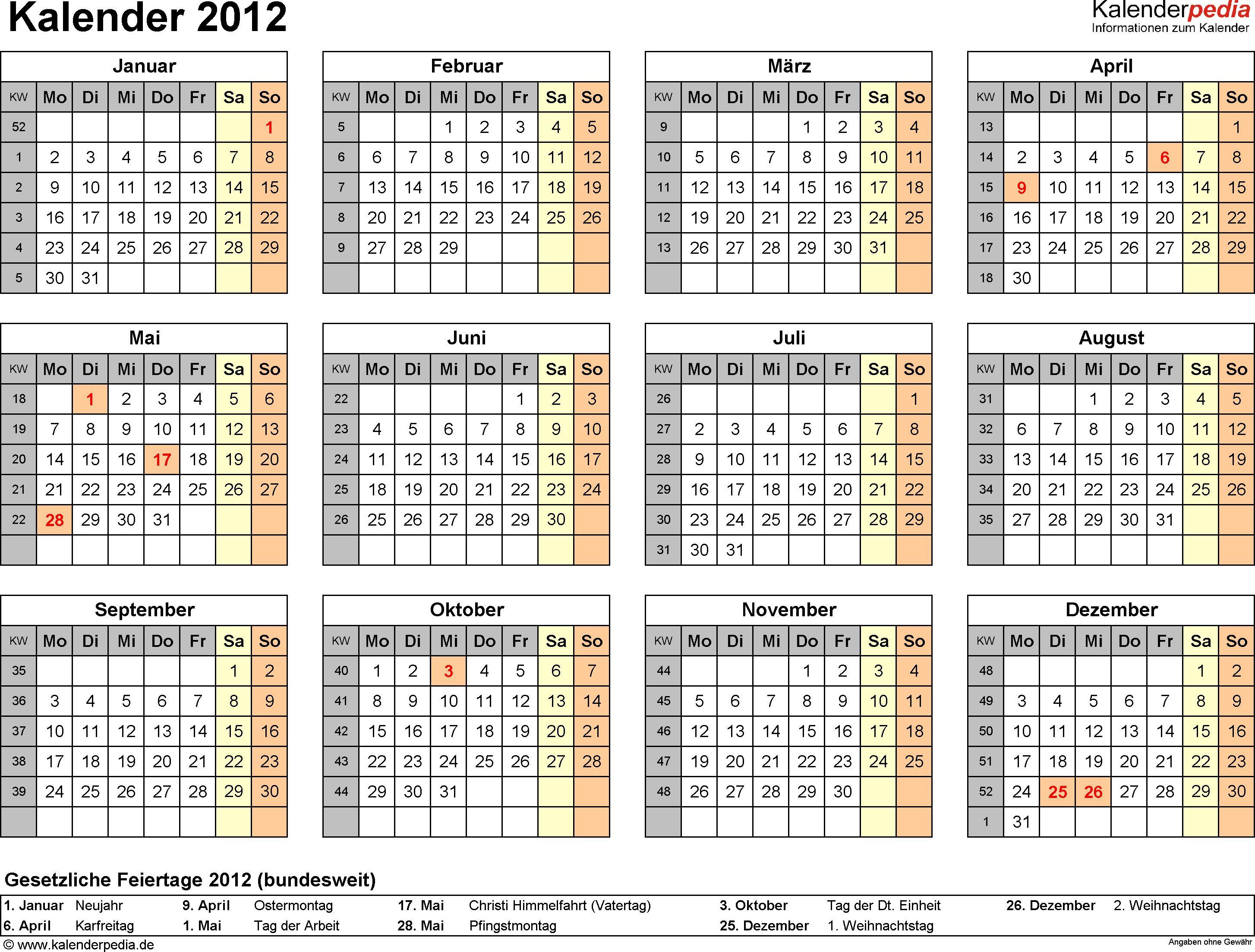 Kalender 2012 mit Feiertagen und Kalenderwochen