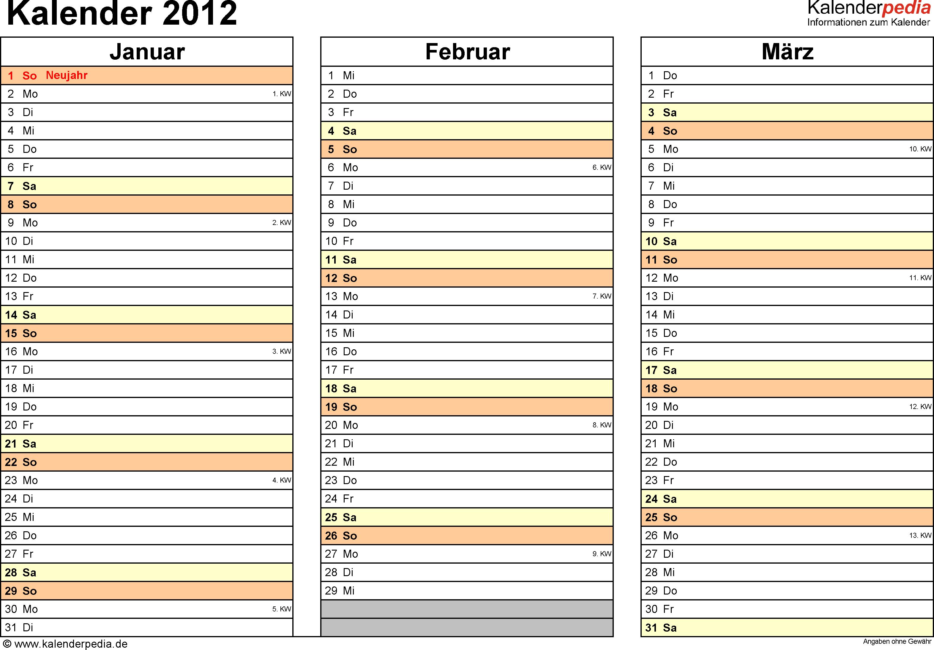 Vorlage 5: Jahreskalender 2012 als Excel-Vorlage, Querformat, DIN A4, 4 Seiten, Quartal auf einer Seite, mit Feiertagen (ganz Deutschland) und Kalenderwochen
