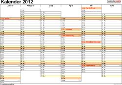 Vorlage 4: Jahreskalender 2012 als PDF-Vorlage, Querformat, DIN A4, 2 Seiten, Tage nebeneinander, 1. Halbjahr und 2. Halbjahr auf jeweils eigener Seite, mit Feiertagen und Kalenderwochen